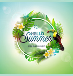 Hello summer with toucan bird on vector