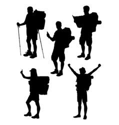 hiker gesture silhouette 02 vector image