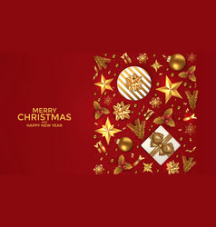 holiday new year card - 2019 on red background 3 vector image