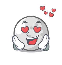 In love golf ball mascot cartoon vector