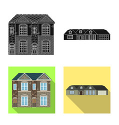 Isolated object of building and front icon set of vector