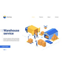 isometric warehouse delivery logistic service vector image