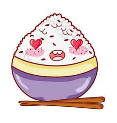 Kawaii adorable rice in bowl food japanese cartoon vector