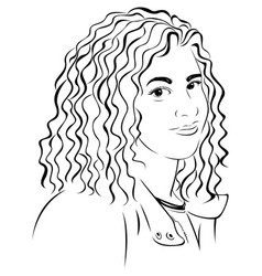 lady with curly hair vector image