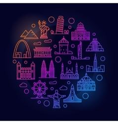 Landmarks colorful vector image