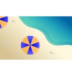 Landscape beach with umbrella vector