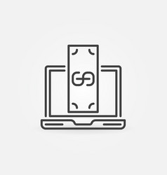 laptop with money concept icon in thin line vector image