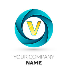 Letter v logo symbol in the colorful circle vector