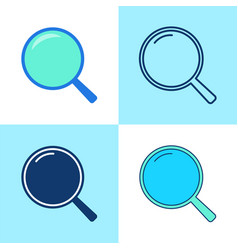 magnifying glass icon set in flat and line style vector image