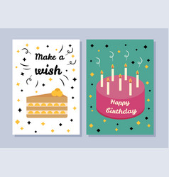 Make a wish and happy birthday two bright banners vector