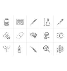 medicine hand drawn outline doodle icon set vector image