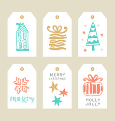 merry christmas greeting tags set vector image