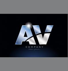 Metal blue alphabet letter av a v logo company vector