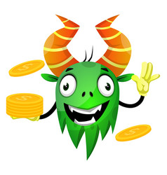 monster with coins on white background vector image