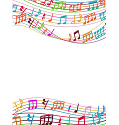 Musical background with colorful music notes and vector