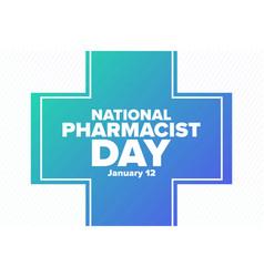 National pharmacist day january 12 holiday vector