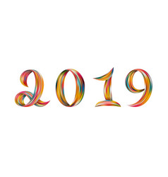 New year 2019 color flow numbers white background vector