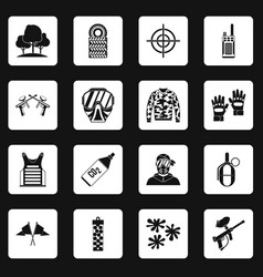 Paintball icons set squares vector