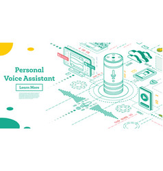 personal voice assistant isometric smart speaker vector image