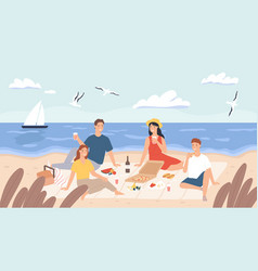 picnic at beach group friends chill and eat vector image