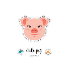 Pig icon piglet patch cute piggy funny pink pig vector