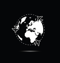 Planet earth with airplane white vector