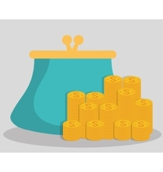 Purse and coins of money concept vector