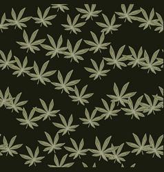 random cannabis leaves seamless doodle pattern vector image
