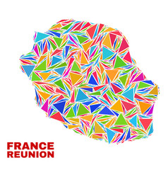 Reunion island map - mosaic color triangles vector