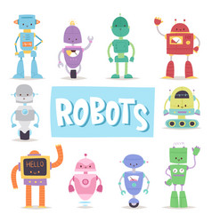 Robots and transformer androids retro cartoon toys vector
