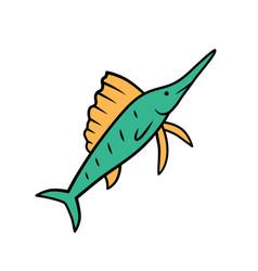 sailfish green color icon swimming fish vector image