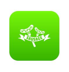 sausage icon green vector image