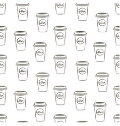seamless pattern with hand drawn sketchy coffee vector image