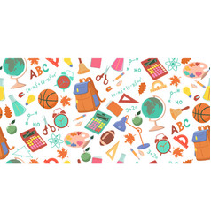 seamless pattern with school objects vector image