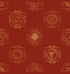 Seamless pattern with yantra symbols vector