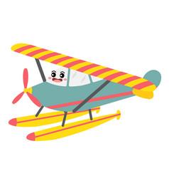 Seaplane transportation cartoon character vector