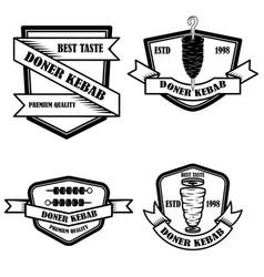 set of vintage doner kebab labels design element vector image