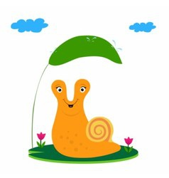 Snail and green leaf vector