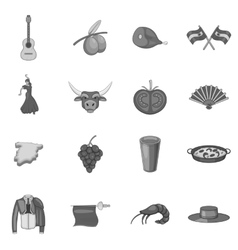 Spain icons set gray monochrome style vector image