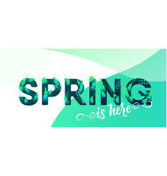 spring green letter with leaves background vector image