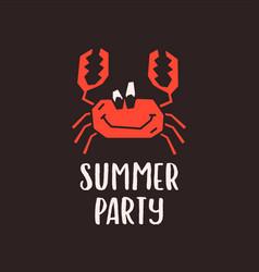summer party emblem template on black vector image