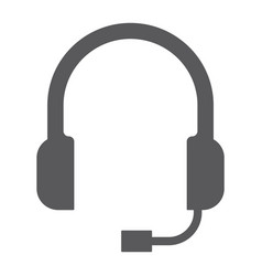 Support glyph icon helpline and operator headset vector