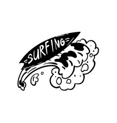 surfing logo hand drawn design element can be vector image