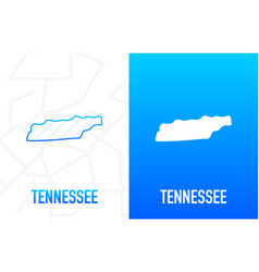 Tennessee - us state contour line in white vector