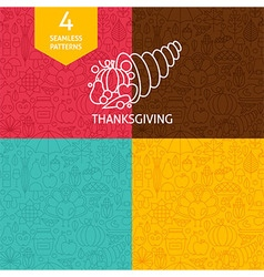 Thin Line Thanksgiving Day Holiday Patterns Set vector