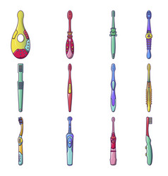 toothbrush dental icons set cartoon style vector image