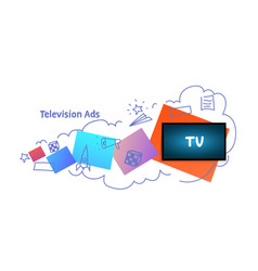 tv icon multimedia communication television ads vector image