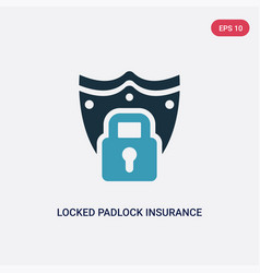 two color locked padlock insurance icon from vector image