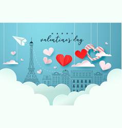 valentines day paris doodle paper cut heart card vector image