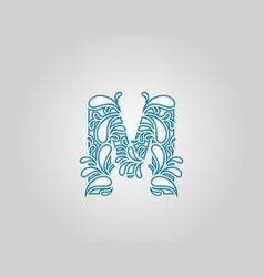 Water splash initial m letter logo icon vector